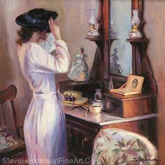 The New Hat, original oil painting by Steve Henderson, 20 x 20 on panel; frame included with purchase. At Steve Henderson Fine Art