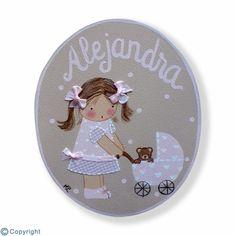 Placa de puerta personalizada: Niña con un cochecito de bebé (ref. 12157-04)