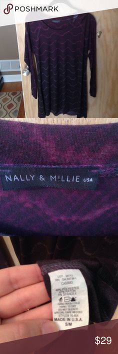 Nally & Millie purple ombré tunic size S Nally & Millie purple ombré long sleeve tunics size S. Super soft! Purchased from a boutique & only worn once. nally & Millie Tops Tunics