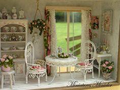 Casa delle bambole in miniatura RoomBox seduta Nook di Minicler
