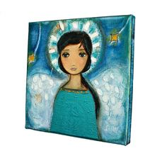 Angel  Original Mixed Media Painting on 8 x 8 inches by FlorLarios, $80.00