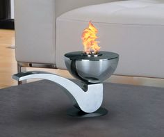 Pureflame Pipe Table-Top Bio-Ethanol Fireplace – Home Alley Tabletop Fireplaces, Indoor Outdoor Fireplaces, Bioethanol Fireplace, Portable Fireplace, Pipe Table, Deco Design, Fireplace Design, Home And Deco, Dining Room Table