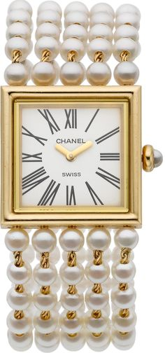 "Chanel Lady's Cultured Pearl, Gold ""Mademoiselle"" Watch, HT"