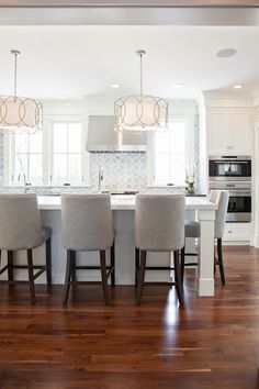 New England Design Works - kitchens - Sausalito Five Light Chandelier, Polly Beau Monde Glass, 1940s French Upholstered Barrelback Barstool,...