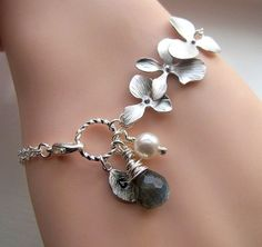 Orchids, dangles and toggle clasp bracelet