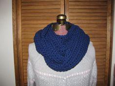 Navy blue infinity scarf on Etsy, $26.00