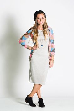 """lularoe_modest_dress_julia_comfortable_shirt_0006.jpg: """"Nothing beats a tee shirt…except maybe a really long, perfectly cut, tee-shirt that eliminates the need for pants (in a socially acceptable, you look AMAZING sort of way, of course)."""""""