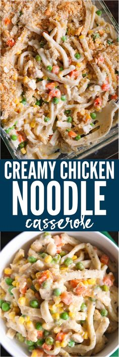 Creamy Chicken Noodle Casserole is comfort food at its finest! Soft and slightly chewy noodles, tender chicken, crisp vegetables, creamy and cheesy sauce and a buttery cracker topping. This will become a family favorite!