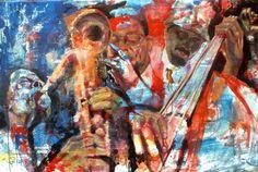 TRIO  Painting by Massimo Chioccia & Olga Tsarkova  http://www.chioccia-tsarkova.it/ — con Wayne Shorter e William Parker