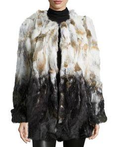 TD9GU Love Token Long-Sleeve Pieced Fur Jacket, Multi