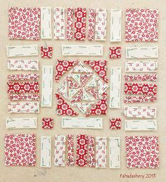 Block 72, English Paper Piecing Nearly Insane Quilt Love this pattern!! And the reds and white
