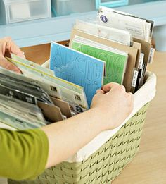 Organize Scrapbook Supplies in Baskets - I have my smaller items in little baskets. I need to get one this size for my larger things.