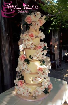 Wedding cake for my daughter by Milena Shalabi - http://cakesdecor.com/cakes/293531-wedding-cake-for-my-daughter
