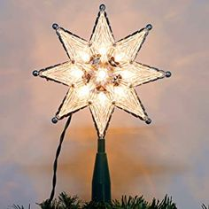 Twinkle Star Lighted Christmas Tree Topper, Clear 8-Point Star Xmas Treetop with 10 Incandescent Fairy MiniLights, Holiday Christmas Tree Decorations Christmas Tree Gif, Star Christmas Lights, Christmas Tree Toppers, Christmas Tree Decorations, Christmas Holidays, Xmas, Twinkle Star, Twinkle Twinkle, Star Tree Topper