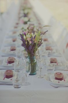 A beautiful way for us to set up our banquet style seating, and present our jar cakes to each guest!