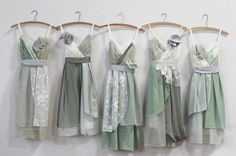 bridesmaids dresses in sage greens and grays