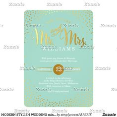 MODERN STYLISH WEDDING mini gold confetti mint Card