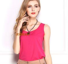 2015 Woman Brand Top Basic Female Chiffon Sleevelss Shirt Blouse Blusas Femininas Tank TopsFree shipping|6812b143-ada8-4adb-90f2-8cfdff46f78d|Blouses & Shirts