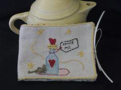 Alice in Wonderland tea keeper Drink Me tea bag by GuineveresFolly, $10.00