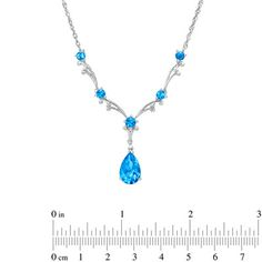"""Blue Topaz and Diamond Accent Scroll Necklace in 14K White Gold - 17.5"""" - Zales  THIS. IS. GORGEOUS!"""