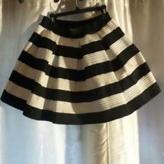 Black and white striped A line skirt Super cute striped skirt Skirts Mini