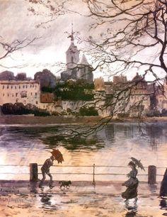 "Alexander Benois (1870-1960) "" Ray Embankment in Basel in the rain""."