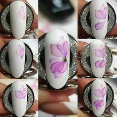 Gradient Nails, Uv Gel Nails, Gel Nail Art, Diy Nails, Nail Polish, Flower Nail Designs, Nail Art Designs, Manicure Pictures, Galaxy Nail Art