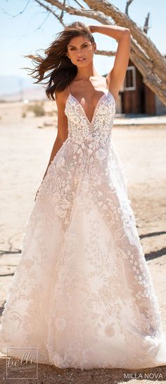 Milla Nova Wedding Dresses 2019 are here! Photographed in quintessential sceneries of the golden state, the collection is truly a California Dream. Wedding Dress Gallery, Wedding Dress Cake, V Neck Wedding Dress, Amazing Wedding Dress, Wedding Gowns, Lace Wedding, Fairy Dress, Fantasy Dress, Bridal Dresses