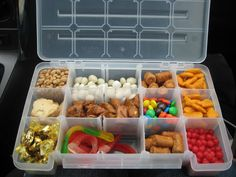 Organize snacks in a tackle box. I 30 Insanely Easy Ways To Make Your Road Trip Awesome