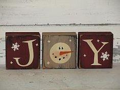 Joy Snowman with Snowflakes Primitive Stacking Blocks