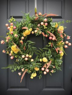 Spring Wreaths Pink and Green Wreath Succulent Wreath Spring Door Decor Spring Door Wreaths Pink Green Yellow Door Wreaths Fern Wreaths