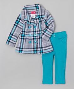 Love this Gray & Blue Plaid Jacket & Pants - Infant, Toddler & Girls on #zulily! #zulilyfinds