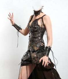 Leather Fantasy Costume / Personal order / Leather corset Goth dress Gothic clothing Horror costume Zombie Dead Wicca Cosplay Wicca clothing by FamilySkiners to Etsy