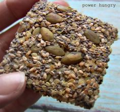 Multiseed Quinoa Power Crisps ¾ cup water ⅓ cup chia seeds ¾ cup cooked, cooled quinoa ⅓ cup pepitas (green pumpkin seeds) ⅓ cup sesame seeds ¼ tsp fine sea salt Optional: spices, cracked black pepper or herbs of choice Healthy Crackers, Gluten Free Crackers, Homemade Crackers, Healthy Snacks, Gluten Free Recipes, Vegan Gluten Free, Vegan Recipes, Snack Recipes, Cooking Recipes