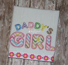 Embroidered Appliqued Chevron Baby Burp Cloth Daddy's Girl with Ribbon Trim on Etsy, $10.00