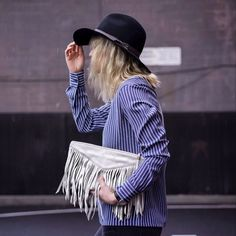 Lisa Dengler from just-another.me in our Carol Fringe Clutch. #spring2015 #liebeskindus #leather #clutch #bag