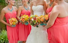 I love the pop of turquoise in the bouquets