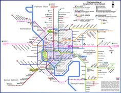 Map of Bangkok Public Transport System (Skytrain - BTS) Note: 1- High resolution 2- Planned construction