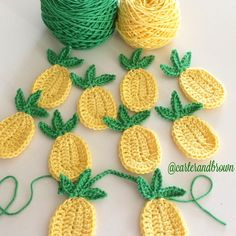 A little weekend project . Pineapple garland - would be a cute backyard decoration! Quick & easy crochet pattern for this totally tropical string of pineapple bunting Free pattern found on Pinteret Cute Ice Cream Cone: free pattern (use translate if you Crochet Fruit, Pineapple Crochet, Crochet Food, Crochet Crafts, Crochet Flowers, Crochet Projects, Pineapple Pattern, Diy Projects, Diy Crafts