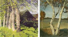Hans am Ende Spring Day in Worpswede 1898 / Paula Modersohn Becker Birch Trees in a Landscape 1899