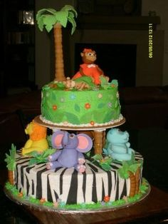 jungle animals baby shower cake (not for now-for someday)