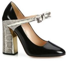 Shop Now - > https://api.shopstyle.com/action/apiVisitRetailer?id=532958166&pid=2254&pid=uid6996-25233114-59 Gucci Nimue Bow Patent Leather & Snakeskin Mary Jane Block-Heel Pumps ...