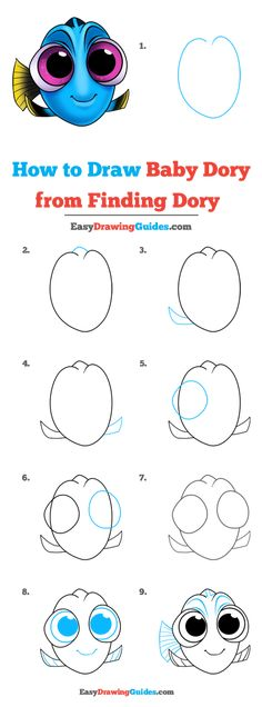 Baby Dory from Finding Dory Drawing Lesson. Free Online Drawing Tutorial for Kids. Get the Free Printable Step by Step Drawing Instructions on easydrawingguides. from ideas easy step by step disney Easy Flower Drawings, Easy Disney Drawings, Easy Drawings For Kids, Cute Drawings, Easy Pencil Drawings, Disney Character Drawings, Kawaii Drawings, Cartoon Characters To Draw, Easy To Draw Disney