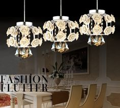 . Novelty lighting Pendant Lights Modern Minimalist Flowers Crystal Pendant Lamp Bedroom Lamp Creative Restaurant Lights 3