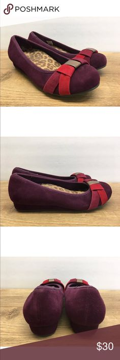 Vionic Purple Red Suede Slip On Flats Sz 7.5 -M6 Vionic purple suede with red and gold on toe slip on flats. These shoes were a sample not for resale in stores and have no size tag but where my daughters who wears 7.5 and are in good condition. These shoes do show signs of wear but still have a ton of life left in them.   Please see photos for color, style and condition. Vionic Shoes Flats & Loafers