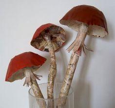 papier mache mushrooms