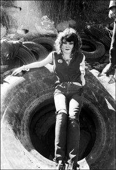 """Exene Cervenka at tire beach"", by Ruby Ray 1978"