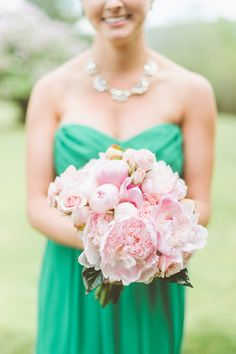 just about the prettiest #pink #peony #bouquet we ever did see | Photography by paperantler.com, Florals by http://www.nancysvermontflowers.com Read More: http://stylemepretty.com/2013/10/17/manchester-vermont-wedding-from-paper-antler/