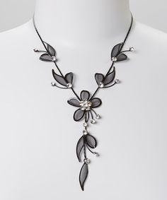 Black Crystal Flower Necklace