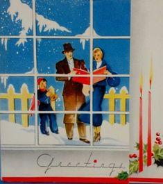Art Deco People in the Window-Vintage Christmas Greeting Card Christmas Card Images, Vintage Christmas Images, Retro Christmas, Vintage Holiday, Christmas Greeting Cards, Christmas Carol, Christmas Pictures, Christmas Greetings, Christmas Windows